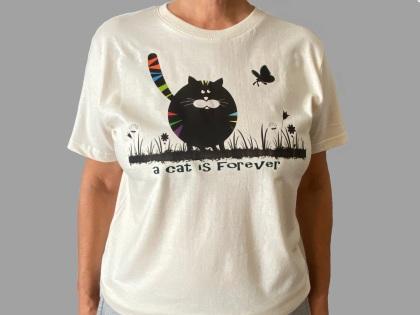 T-Shirt cat 4ever- sfondo GRIGIO_OK